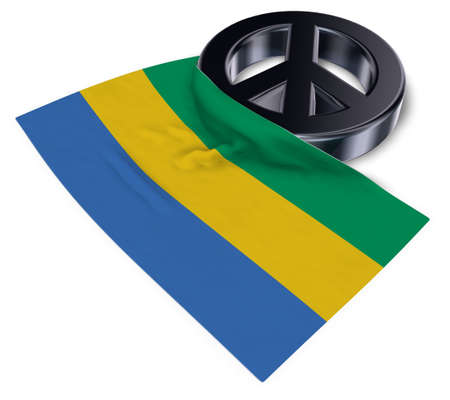 peace symbol and flag of gabon - 3d rendering Stock Photo