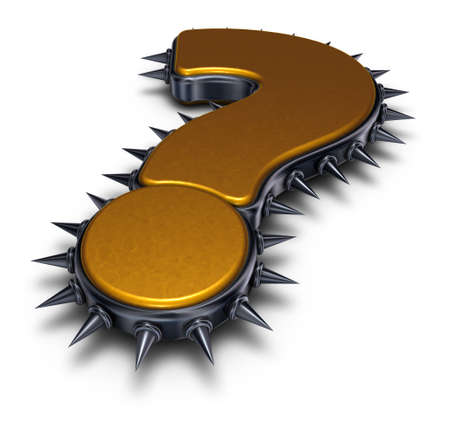 question mark with spikes on white background - 3d rendering Stock Photo