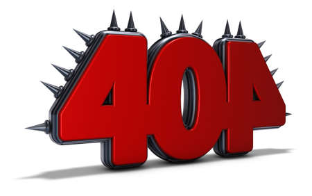 number 404 with spikes on white background - 3d rendering