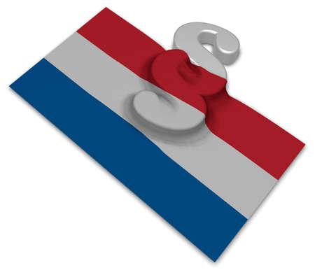 paragraph symbol and dutch flag - 3d illustration Stock Photo
