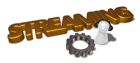 token with headphones, gear wheel and the word streaming - 3d rendering Stock Photo