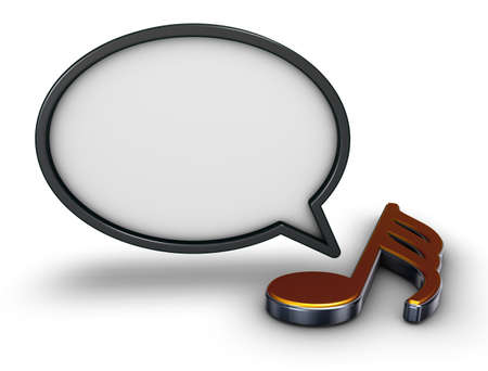 speech bubble and music note symbol - 3d rendering Stock Photo