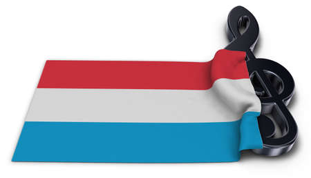 clef symbol and flag of Luxembourg - 3d rendering