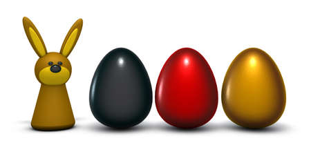 bunny and easter eggs in german colors - 3d rendering Stock Photo