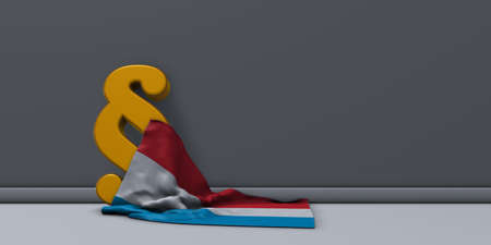 paragraph symbol and flag of luxembourg - 3d rendering