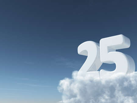 number twenty-five on clouds - 3d rendering Stock Photo - 92680729