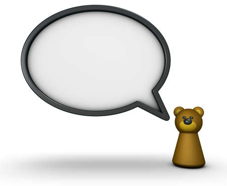 brown bear toy and speech bubble - 3d rendering