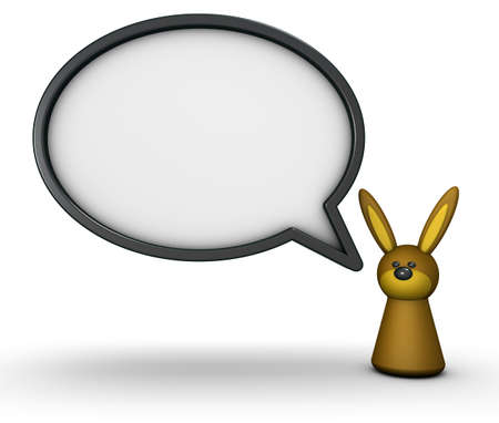 bunny toy and speech bubble - 3d rendering
