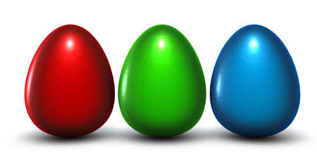four easter eggs in rgb colors - 3d rendering