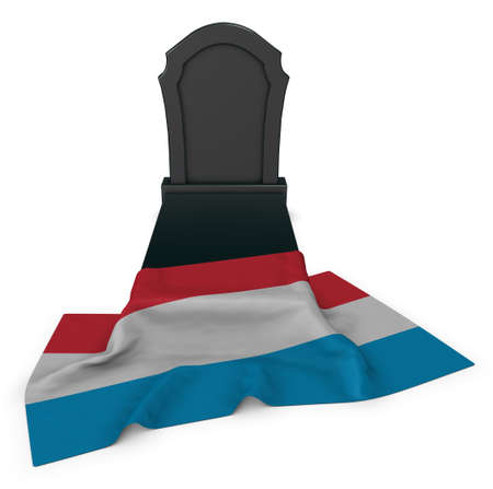 gravestone and flag of luxembourg - 3d rendering