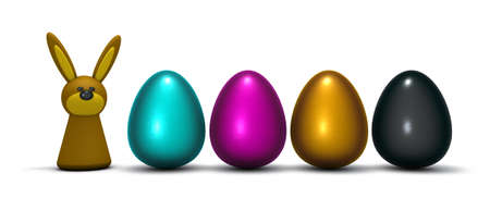 bunny and four easter eggs in cmyk colors - 3d rendering