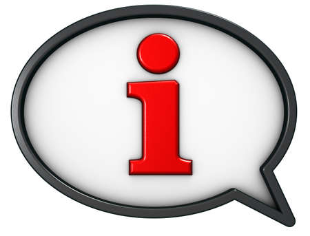 speech bubble with the letter i - 3d rendering