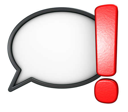 exclamation mark and speech bubble on white background - 3d rendering Banque d'images