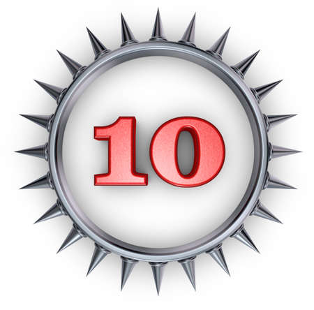 number ten in ring with spikes on white background - 3d illustration