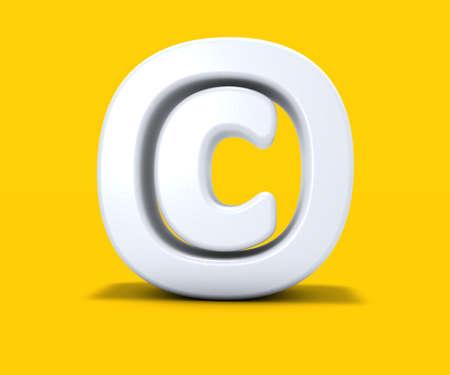 auteursrechtsymbool op gele achtergrond - het 3d teruggeven