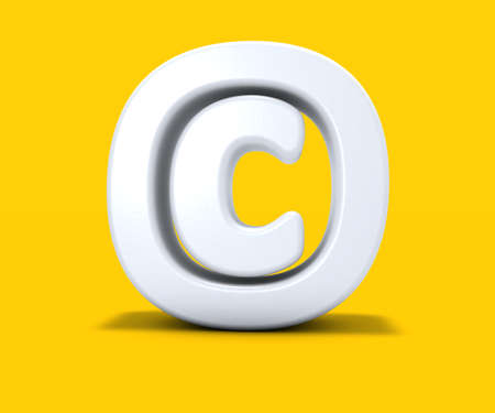 copyright symbol on yellow background - 3d rendering