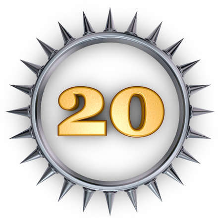 number twenty in ring with spikes on white background - 3d illustration