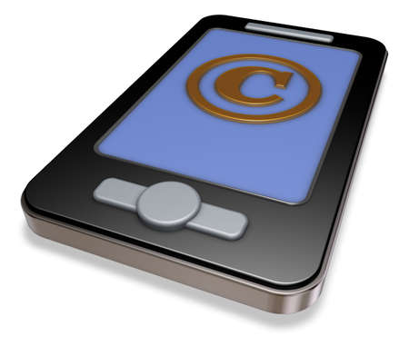 smartphone with copyright symbol - 3d illustration Stock Photo