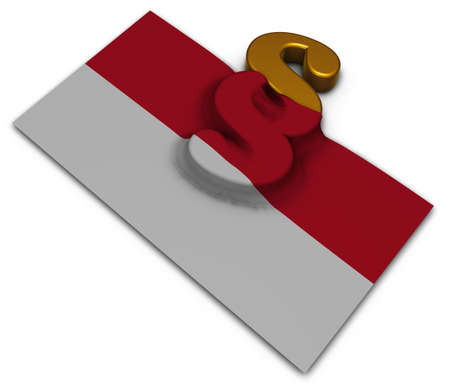 paragraph symbol and flag of monaco - 3d rendering