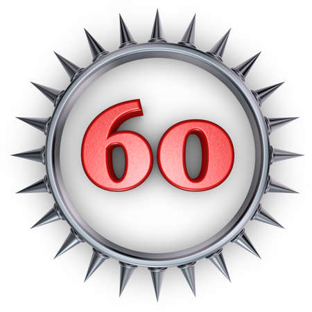 number sixty in ring with spikes on white background - 3d illustration