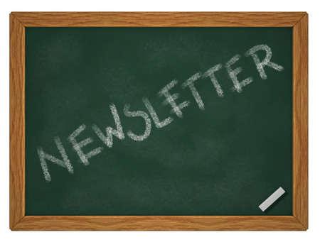 written word newsletter on chalk board - 3d rendering Stock Photo