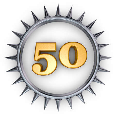 number fifty in ring with spikes on white background - 3d illustration