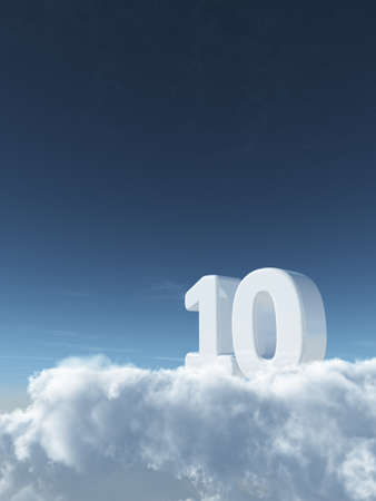 number ten on clouds - 3d rendering