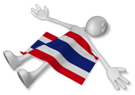 dead cartoon guy and flag of thailand - 3d illustration Banco de Imagens