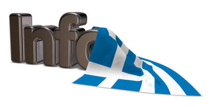 the word info and flag of greece - 3d rendering