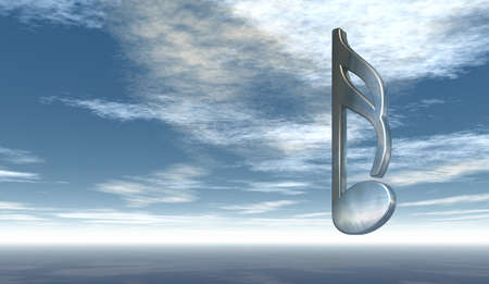 metal music note under cloudy sky - 3d rendering Stock Photo