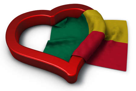 flag of benin and heart symbol - 3d rendering