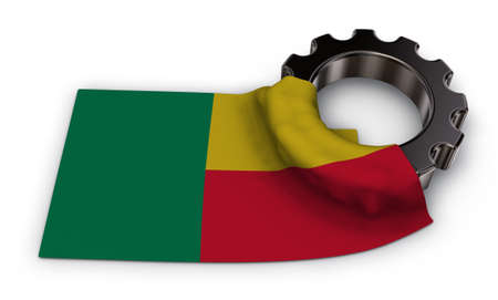 gear wheel and flag of benin - 3d rendering Stock Photo