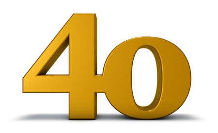 nummer veertig op witte achtergrond - het 3d teruggeven