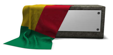 stone socket and flag of benin - 3d rendering Imagens