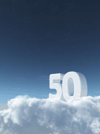 number fifty on clouds - 3d rendering