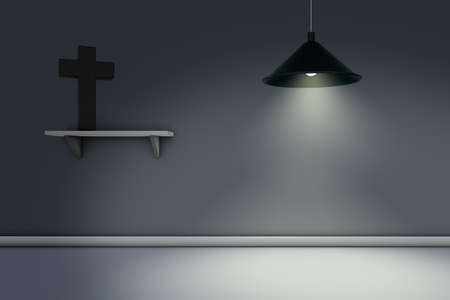 christian cross on shelf and hanging lamp - 3d rendering