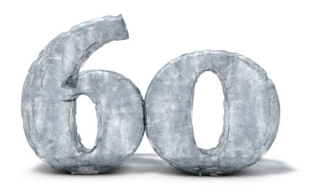 frozen number sixty on white background - 3d illustration Imagens
