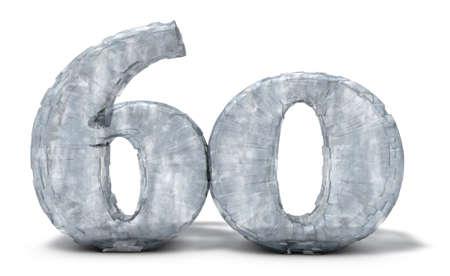 frozen number sixty on white background - 3d illustration Banco de Imagens