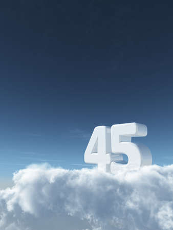 number forty-five on clouds - 3d rendering