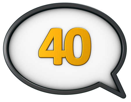 number forty in speech bubble - 3d rendering Stock Photo