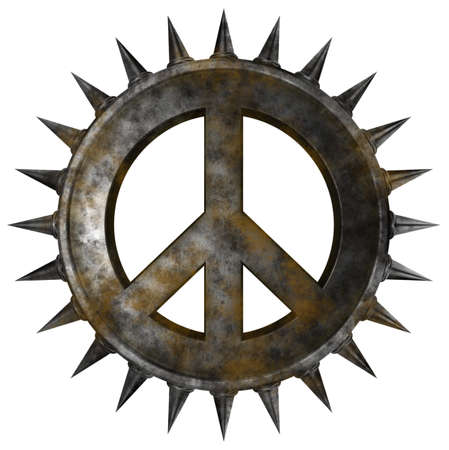rusty peace symbol with spikes on white background - 3d rendering Stock Photo