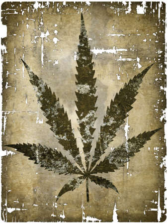 hemp leaf on grunge background - illustration