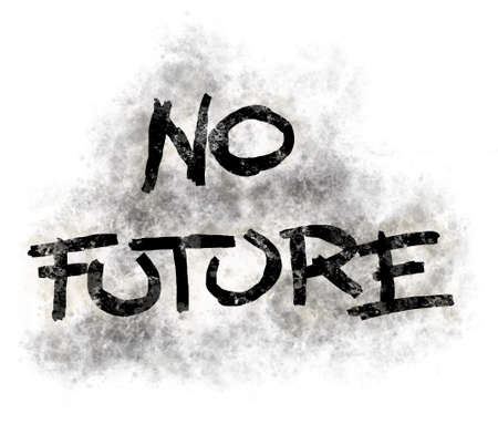 illustration of no future tag in grunge look