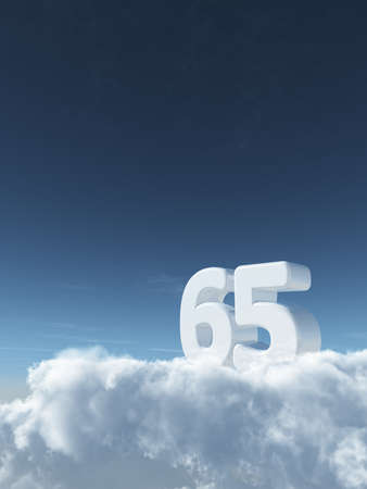 number sixty-five on clouds - 3d rendering