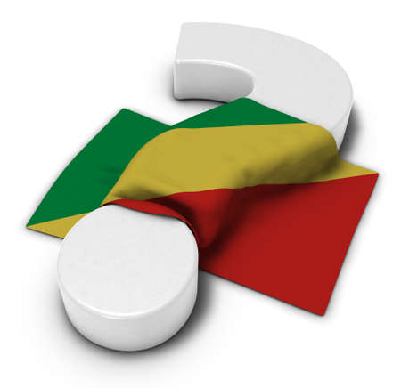 question mark and flag of the congo - 3d illustration