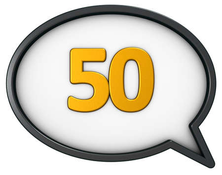 number fifty in speech bubble - 3d rendering