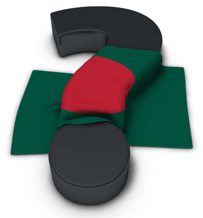 question mark and flag of bangladesh - 3d illustration