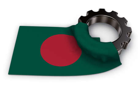 gear wheel and flag of bangladesh - 3d rendering