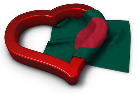 flag of bangladesh and heart symbol - 3d rendering