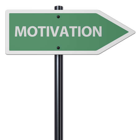 sign with motivation tag on white background - 3d rendering